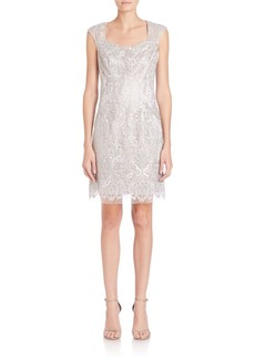 Kay Unger New York Kay Unger Embroidered Lace Sheath Dress