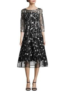 Kay Unger New York Kay Unger Embroidered Midi Dress
