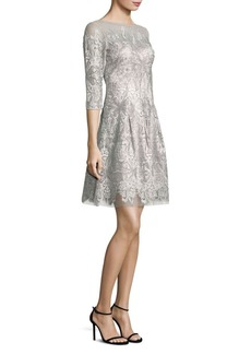 Kay Unger New York Kay Unger Embroidered Three Quarter Sleeve Fit-&-Flare Dress