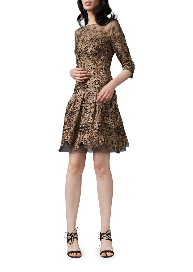 Kay Unger New York KAY UNGER Embroidered Three Quarter Sleeve Fit-and-Flare Dress
