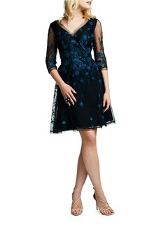 Kay Unger New York KAY UNGER Embroidered Tulle Fit-and-Flare Cocktail Dress