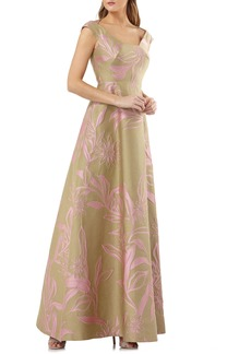 Kay Unger New York Kay Unger Extended Sleeve Floral Jacquard Gown