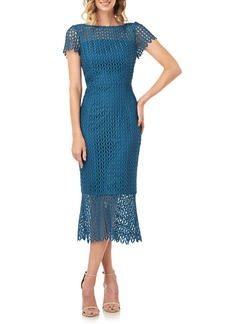 Kay Unger New York Kay Unger Floral Lace Midi Dress