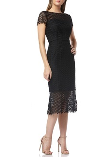 Kay Unger New York Kay Unger Fishnet Lace Sheath Dress