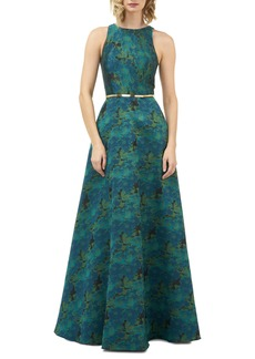 Kay Unger New York Kay Unger Floral Jacquard Evening Gown