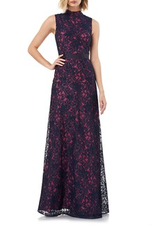 Kay Unger New York Kay Unger Floral Lace Mock Neck Fit & Flare Evening Gown