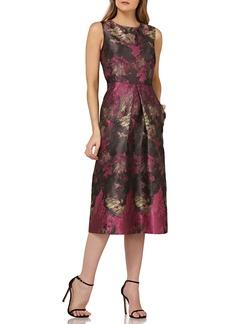 Kay Unger New York Kay Unger Floral Pleat Midi Dress