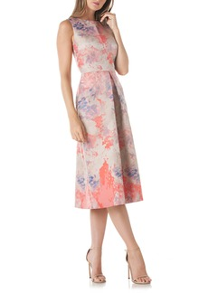 Kay Unger New York Kay Unger Floral Pleat Midi Dress