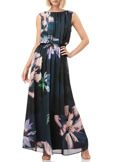 Kay Unger New York Kay Unger Floral Print Chiffon Gown