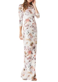 Kay Unger New York Kay Unger Floral Print Crepe Column Gown