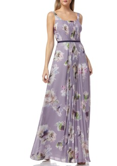Kay Unger New York Kay Unger Floral Print Pleated Chiffon Evening Dress