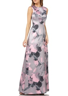 Kay Unger New York Kay Unger Floral Print Satin Gown