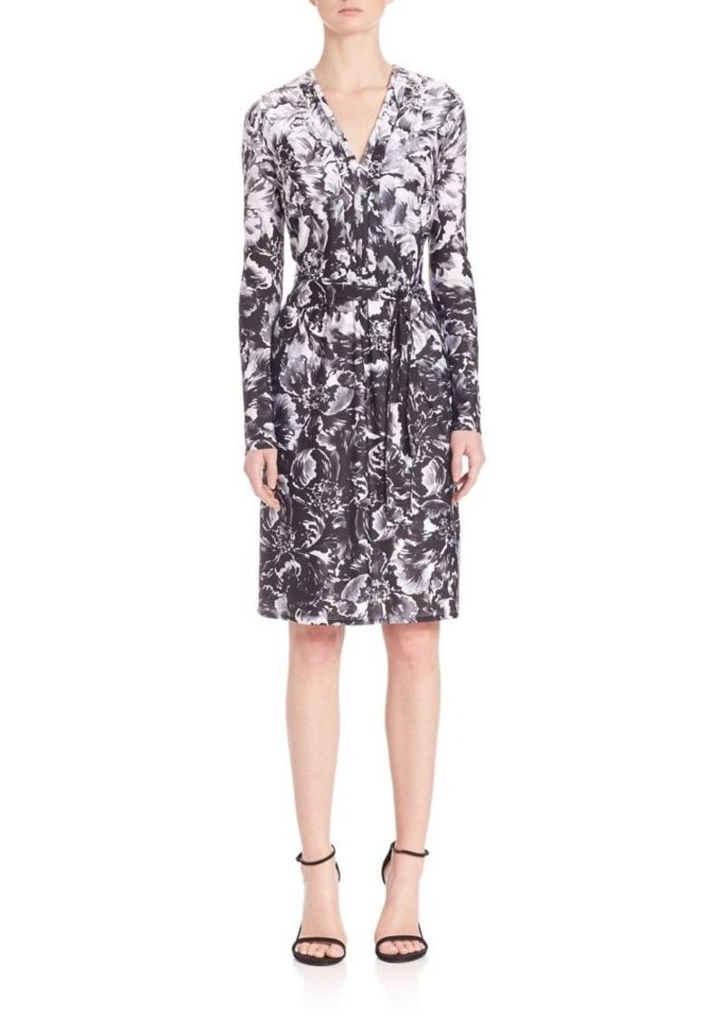 Kay Unger New York Kay Unger Floral V-Neck Jersey Dress