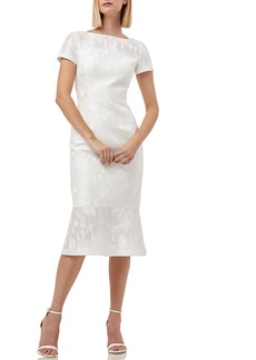 Kay Unger New York Kay Unger Flounce Hem Embroidered Mesh Cocktail Dress