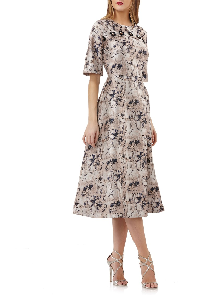 3f6d8f5ce012c Kay Unger New York Kay Unger Flower Button Fit & Flare Midi Dress ...