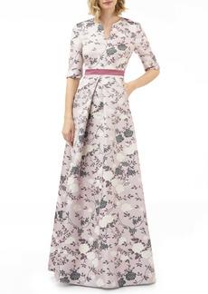 Kay Unger New York Kay Unger Flower Jacquard Gown
