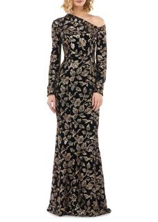 Kay Unger New York Kay Unger Francesca One-Shoulder Velvet Evening Gown