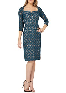 Kay Unger New York Kay Unger Geometric Embroidered Cocktail Sheath