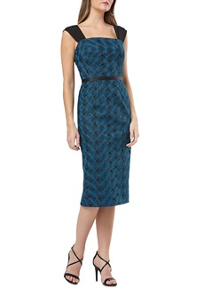 Kay Unger New York Kay Unger Geometric Embroidered Sheath
