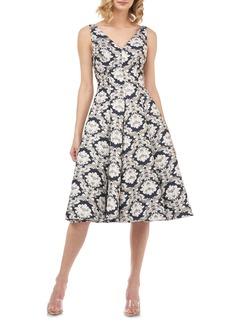 Kay Unger New York Kay Unger Gia Jacquard Fit & Flare Dress
