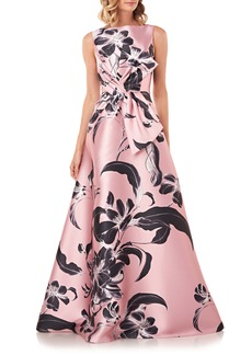 Kay Unger New York Kay Unger Grace Floral Twist Front Ballgown