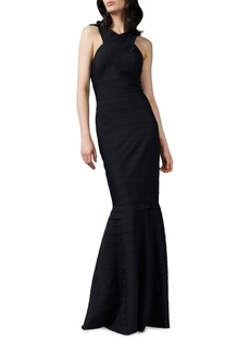 Kay Unger New York Kay Unger Halter Neck Textured Gown