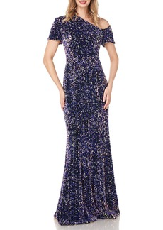 Kay Unger New York Kay Unger Hutton One-Shoulder Sequin Velvet Gown