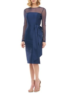Kay Unger New York Kay Unger Illusion Neck Long Sleeve Mikado Cocktail Dress