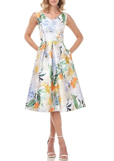 Kay Unger New York Kay Unger Irene Floral Print Mikado Cocktail Dress