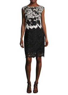 Kay Unger New York Kay Unger Lace Cap Sleeves Cocktail Dress