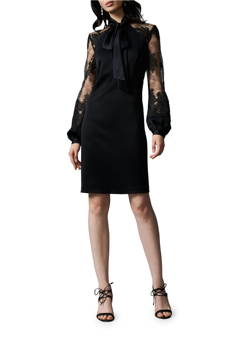 Kay Unger New York KAY UNGER Lace Sleeve Tie-Neck Dress