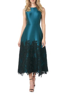 Kay Unger New York Kay Unger Lola Guipure Lace Twill Midi Cocktail Dress