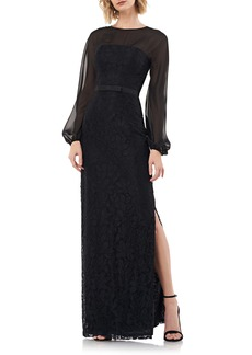 Kay Unger New York Kay Unger Long Sleeve Illusion Yoke Lace Gown