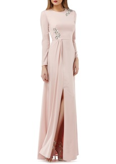 Kay Unger New York Kay Unger Long Sleeve Stretch Crepe Gown