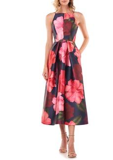 Kay Unger New York Kay Unger Madeline Floral Mikado Midi Dress