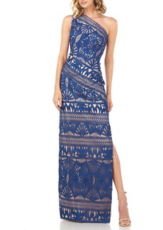 Kay Unger New York Kay Unger Marissa Lace One-Shoulder Gown
