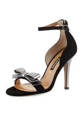 Neiman Marcus Marlee Metallic-Bow Suede Sandal