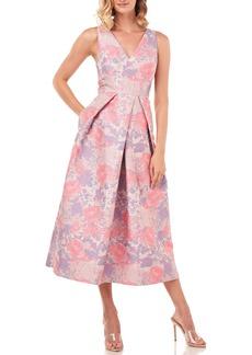 Kay Unger New York Kay Unger Maxime Floral Jacquard Midi Dress