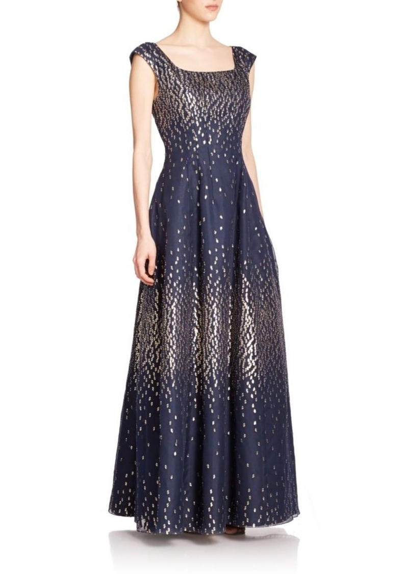 Kay Unger New York Kay Unger Metallic-Dot Pleated Gown