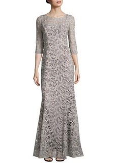 Kay Unger New York Kay Unger Metallic Lace Mermaid Gown