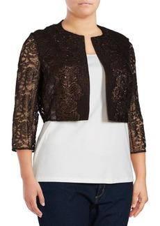 Kay Unger New York Kay Unger Metallic Tweed & Lace Jacket