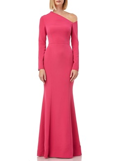 Kay Unger New York Asymmetric-Neck Long-Sleeve Stretch-Crepe Trumpet Gown