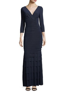 Kay Unger New York Banded Tier Jersey Gown