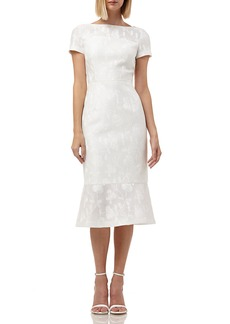 Kay Unger New York Boat-Neck Short-Sleeve Embroidered Lace Dress w/ Flounce Hem