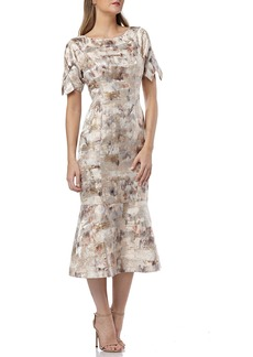 Kay Unger New York Boat-Neck Short-Sleeve Jacquard Trumpet Dress w/ 3D Bows