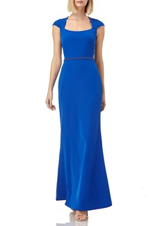 Kay Unger New York Cap-Sleeve Beaded-Waist Stretch-Crepe Gown