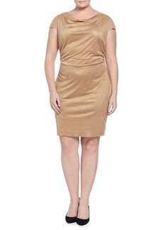 Kay Unger New York Cap-Sleeve Draped Suede Dress