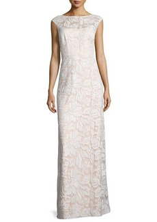 Kay Unger New York Cap-Sleeve Sequined Lace Column Gown