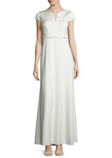 Kay Unger New York Cap-Sleeve Sequined-Waist A-line Gown