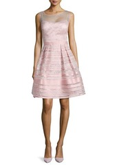Kay Unger New York Cocktail Dress with Metallic Illusion Stripes